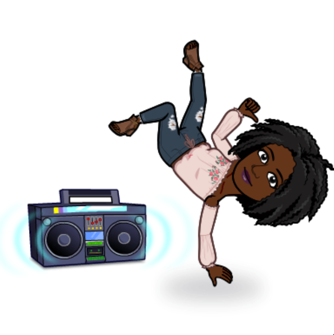 Chizoba's bitmoji is doing a hand stand. A stereo is next to her
