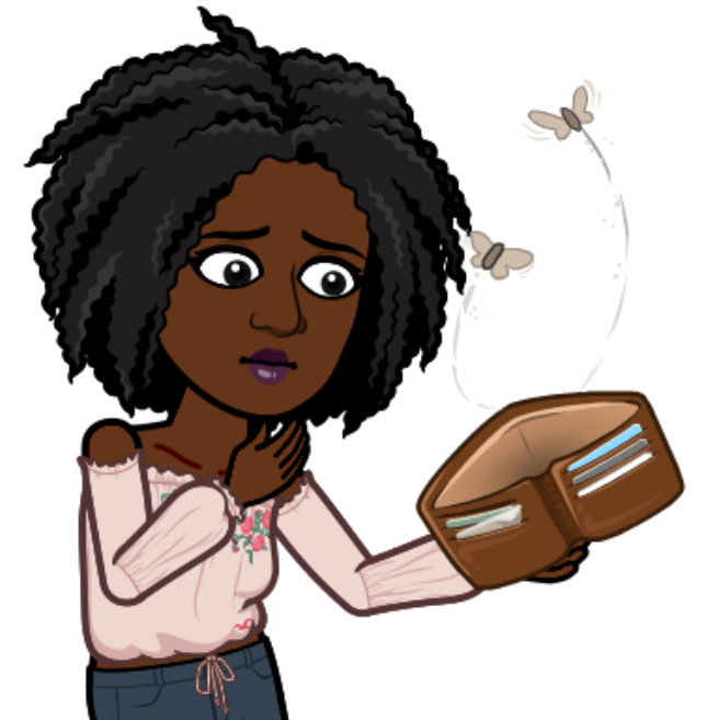 Chizoba's bitmoji is looking at her empty purse