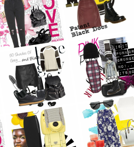 A blog banner filled with the various polyvore fashion sets chizoba created