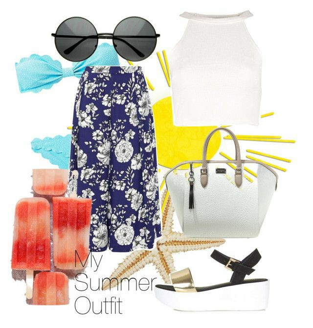 A polyvore set consisting of a white sleeveless cropped top, blue floral culotte trousers, a white black and gold flatform sandals, a white bag and black round sunglasses