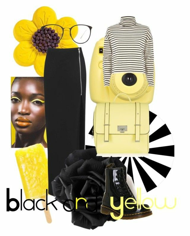 a polyvore set consisting of black patent origianl doc martens, a yellow backpack,a black slit midi skirt, black glasses and a black and white stripped turtle neck jumper