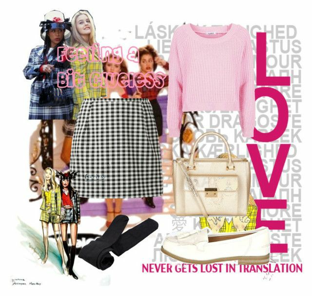 a polyvore set consitng a white and black gingham a line skirt, black tights, white loafers, a gold bag and light pink cropped jumper