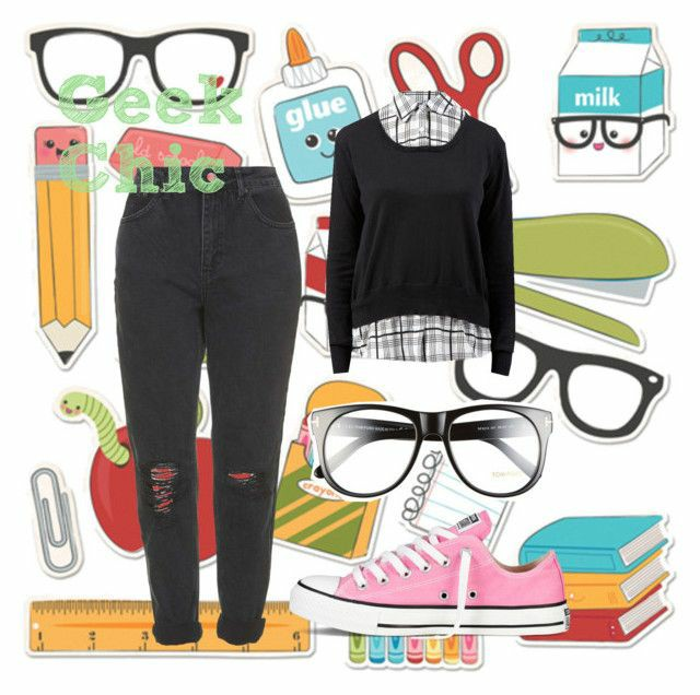 a polyvore set consisting of a black ripped mom jeans, a two in one black jumper with a check top underneath, black glasses and low pink converse