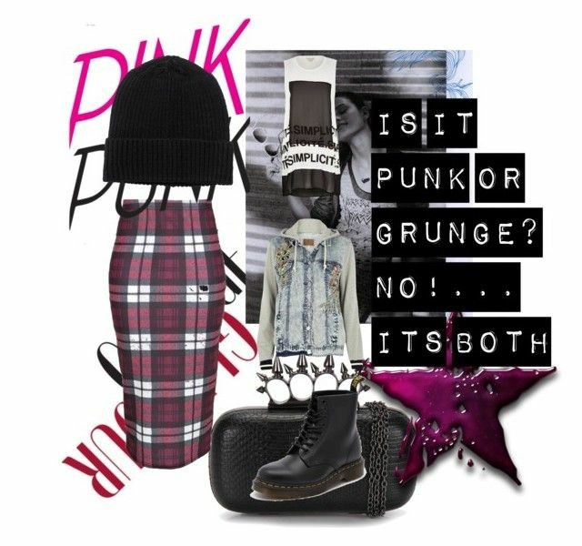 a polyvore set consisting of original black doc martens, a burgundy check midi skirt, a black beanie, a white and black sleaveless top and a hooded denim jacket