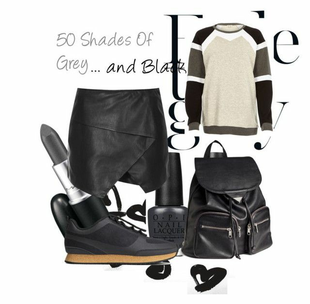 A polyvore set consisting of a red wrap leather skirt, a black leahter backpack, black trainers with a camel sole and a black, grey and white colour block sweatshirt