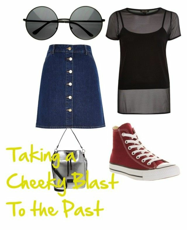 A polyvore set consisting of a dark blue denim button up A line skirt, a black see through t shirt with a black cami shirt underneath, burgundy high top trainers, a mini silver bag and black round sunglasses