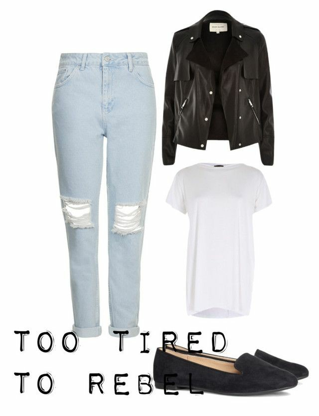 A polyvore set consisting of a light blue ripped mom jeans, a black leather jacket, a white t shirt and black loafers