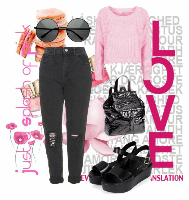 A polyvore set consisting of Black ripped mom jeans, a black glossy backpack, black flatform sandals, a bright pink cropped jumper and black circle sunglasses