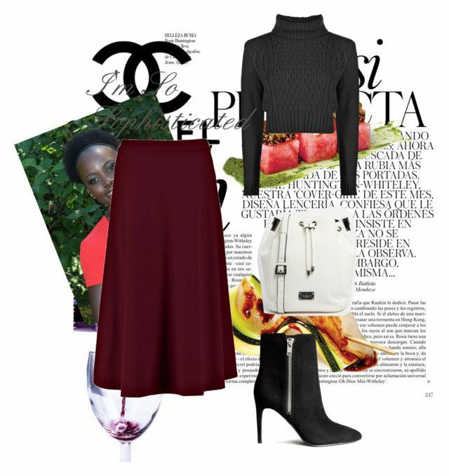 A polyvore set consisting of black pointy ankle boots, a burgundy midi skirt, a black knitted cropped jumper and a white pull string bag