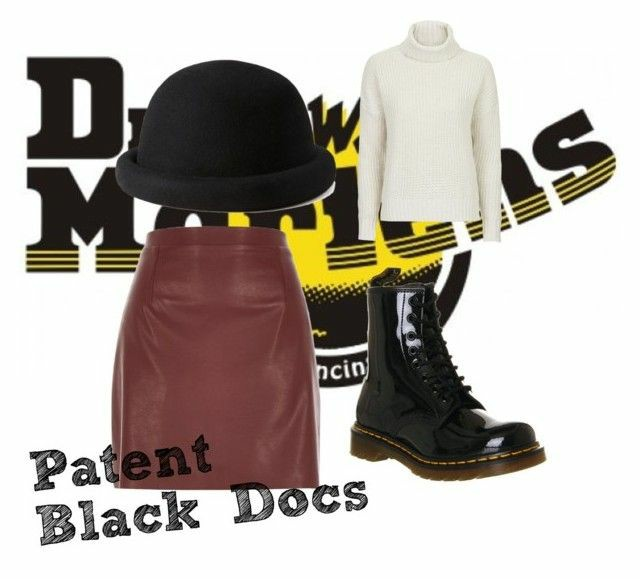 A polyvore set consisting of a red leather a line skirt, Black patent orginal doc martens, a black bowler hat and a white turtle neck jumper